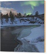 Aurora Borealis Over Tennevik River Wood Print