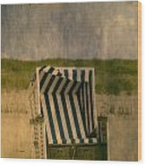 Beach Chair Wood Print