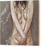 Beautiful Soiled Naked Woman's Body Wood Print