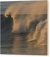 Breaking Surf At Sunset In La Jolla Wood Print