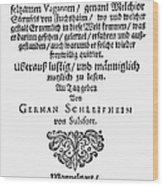 Hans Von Grimmelshausen Wood Print