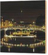 Hapenny Bridge, River Liffey, Dublin Wood Print by The Irish Image Collection