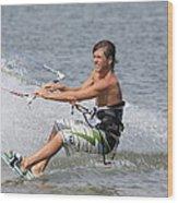 Kite Boarding Wood Print by Jeanne Andrews