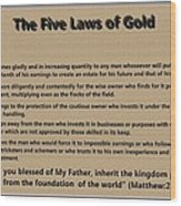 5 Laws Of Gold Wood Print