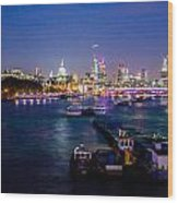 London Skyline Sunset Wood Print