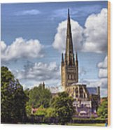 Norwich Cathedral Norfolk England Wood Print