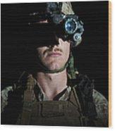 Portrait Of A U.s. Marine Wearing Night Wood Print
