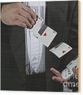 Shuffling Cards Wood Print