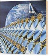 Solar Power Satellite, Artwork Wood Print