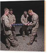 U.s. Marines Fold The American Flag Wood Print