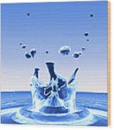 Water Drop Impact Wood Print by Pasieka