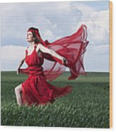 Woman In Red Series Wood Print