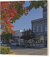 5th And G Street In Grants Pass With Text Wood Print