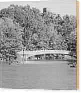 Bow Bridge In Black And White Wood Print