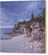 Georgian Bay Cliffs At Sunset Wood Print