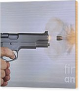 Handgun And .45 Caliber Bullet Wood Print