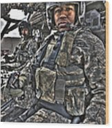 Hdr Image Of A Pilot Sitting Wood Print