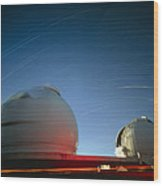 Keck I And II Observatories On Mauna Kea, Hawaii Wood Print