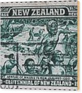 old New Zealand postage stamp Wood Print