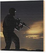 Partially Silhouetted U.s. Marine Wood Print