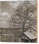 Rustic Hillside Barn Wood Print