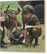 Soldiers Of A Belgian Infantry Unit Wood Print