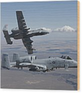 Two A-10 Thunderbolts Fly Wood Print