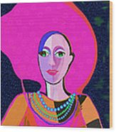 656 - Woman With Summer Hat Wood Print