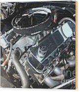 67 Black Camaro Ss 396 Engine-8033 Wood Print