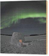 Aurora Borealis Over An Igloo On Walsh Wood Print