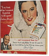 Chesterfield Cigarette Ad Wood Print