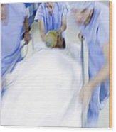 Emergency Hospital Treatment Wood Print by