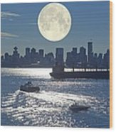 Full Moon Over Vancouver Wood Print