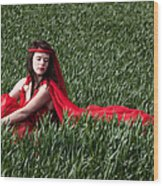 Woman In Red Series Wood Print