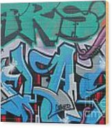Abstract Graffiti On The Textured Wall Wood Print
