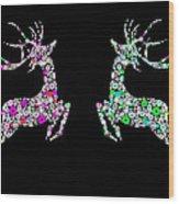 Reindeer Design By Snowflakes Wood Print