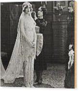 Silent Film Still: Wedding Wood Print