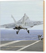 An Fa-18e Super Hornet Launches Wood Print