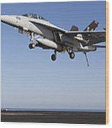 An Fa-18f Super Hornet During Flight Wood Print