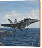 An Fa-18f Super Hornet Launches Wood Print