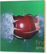 Bullet Hitting An Apple Wood Print