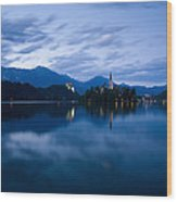 Dusk Over Lake Bled Wood Print
