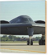 A B-2 Spirit Taxis Onto The Flightline Wood Print