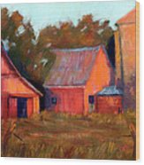 A Barn At Sunset Wood Print by Cheryl Whitehall
