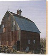 A Barn On A Farm In Nebraka Wood Print