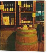 A Barrel And Wine Wood Print by Jeff Swan