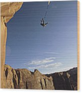 A Base Jumper Leaping With A Parachute Wood Print