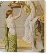 A Basket Of Roses - Grecian Girls Wood Print by Henry Thomas Schaefer