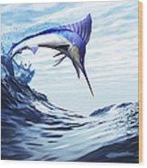 A Beautiful Blue Marlin Bursts Wood Print