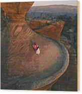 A Bedouin Surveys The View Wood Print